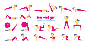 Woman in gym. Set of gym icons in flat style isolated on white b Stock Photography