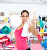 Woman gym show hand finger gesture sport Royalty Free Stock Images