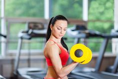 Woman in gym sport exercising with dumbbells Royalty Free Stock Image