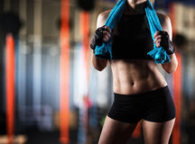 Woman after gym workout royalty free stock images