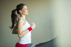 Woman in the gym. Young woman training in the gym Royalty Free Stock Photos