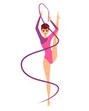 Woman gymnast with ribbon. Young woman gymnast with ribbon  on white background. Vector illustration Royalty Free Stock Photo