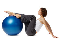Woman with gymnastic ball Stock Photo