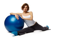 Woman with gymnastic ball Royalty Free Stock Photo