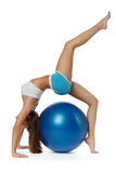 Woman with gymnastic ball Stock Images
