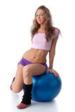 Woman with gymnastic ball Stock Photography