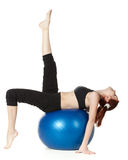Woman with gymnastic ball Royalty Free Stock Images