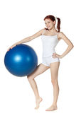Woman with gymnastic ball Stock Image