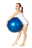 Woman with gymnastic ball Stock Photos