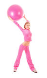 Woman with gymnastic ball isolated Stock Photography