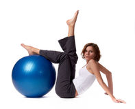 Woman with gymnastic ball Royalty Free Stock Photos