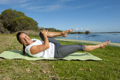 Woman gymnastic exercises Royalty Free Stock Photos