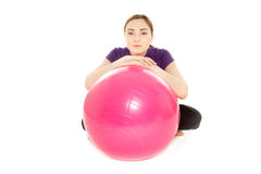 Woman with gymnastics ball Royalty Free Stock Images