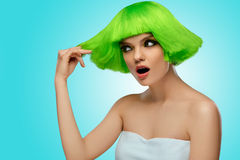 Woman Hair. Beauty Fashion Model With Funky Green Hairstyleю.Ha Royalty Free Stock Photography