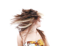 Woman with hair billowing Stock Image