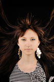 Woman hair blowing Stock Images