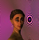 Woman with hair in bun. A three dimensional, computer generated image of a girl with her hair in a bun and a background of concentric circles in a pinkish tone Stock Image