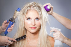 Woman hair care Stock Photos
