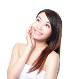 Woman hair care. Woman had long straight  hair care and  smile look to empty copy space, asian woman Royalty Free Stock Images