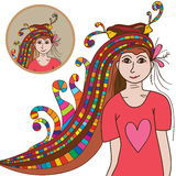 Woman hair colorful bird like Royalty Free Stock Images