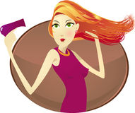 Woman with hair dryer. Illustration shows a woman with the hair dryer royalty free illustration