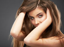 Woman hair, face close up beauty portrait. Royalty Free Stock Images