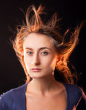 Woman with hair flying royalty free stock photo