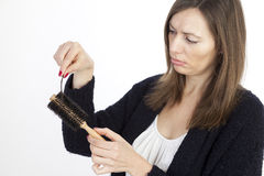 Woman with hair loss Stock Photos