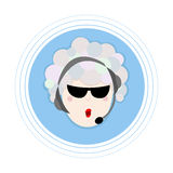 Woman with hair made of soap bubbles in headphones with a microphone. Flat avatar icon. Royalty Free Stock Images