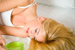 Woman with hair masque Stock Photo