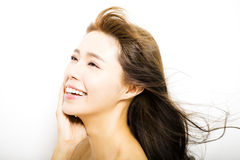 Woman  with hair motion on white background Royalty Free Stock Image