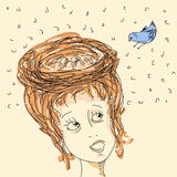 Woman with hair nest. And bird Stock Image
