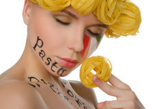 Woman with hair pasta and symbols of Italy Royalty Free Stock Photos