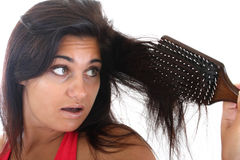 Woman with hair problem Stock Image