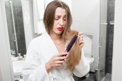 Woman with hair problems Stock Photography
