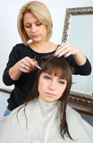 Woman in hair salon Stock Photo