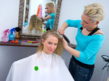 Woman in hair salon Royalty Free Stock Photos