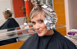 Woman in hair salon Royalty Free Stock Photos