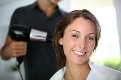 Woman at the hair salon Stock Image