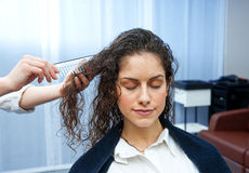 Woman in hair salon Royalty Free Stock Images