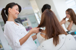 Woman at the hair salon Stock Image