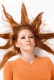 Woman with hair shaped sun. Blond royalty free stock images