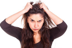 Woman with hair standing on end Stock Photos