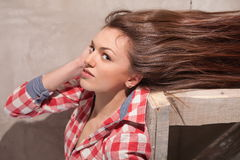 Woman with hair streaming out Royalty Free Stock Photography