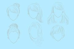 Woman with hair style. Cute cartoon woman has different hair style Stock Photography