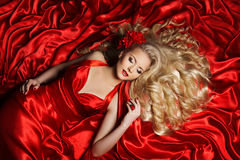 Woman Hair Style, Fashion Model Long Curly Hair, Girl Red Cloth Stock Photo