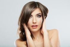 Woman hair style fashion portrait. . close up female fac. E. Long hair royalty free stock images