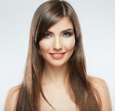 Woman hair style fashion portrait. isolated. close up female fac Stock Images