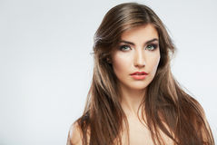Woman hair style fashion portrait. isolated. close up female fac Royalty Free Stock Images