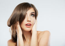 Woman hair style fashion portrait. isolated. close up female fac Royalty Free Stock Photo